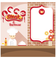 Chef at Steak House Shop Counter with Blank Sign vector image vector image