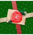christmas greeting card merry gift box vector image vector image