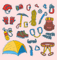climbing climbers equipment helmet vector image