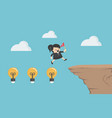 concept cartoon businesswoman crosses a high cliff vector image
