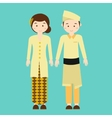 couple wear malaysia malaysian traditional clothes vector image vector image