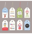 Cute Christmas labels set with glitter vector image vector image