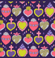 doodle sacred heart seamless pattern vector image