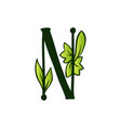 doodling eco alphabet letter ntype with leaves vector image