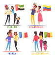 families nationalities design concept vector image vector image