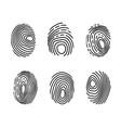 Fingerprint icon set police scanner thumb