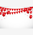 glossy red balloons and flaf background vector image vector image