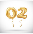 golden number 02 zero two metallic balloon party vector image vector image