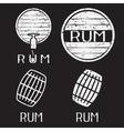 grunge vintage labels set with barrels of rum vector image