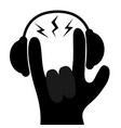 headphones lightning light rockroll hand finger vector image