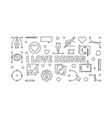 i love design outline horizontal banner vector image vector image