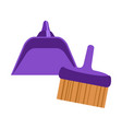 isolated broom with a dustpan icon vector image vector image