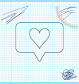 like and heart line sketch icon isolated on white vector image vector image