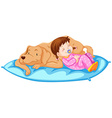 Little girl sleeping with pet dog vector image vector image