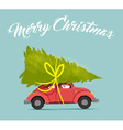 merry christmas card with fun holiday car design vector image