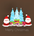 Merry christmas card with santa claus and gift vector image vector image