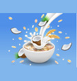 oatmeal with coconut milk pouring in a bowl vector image vector image