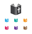 of faith symbol on bible icon vector image vector image