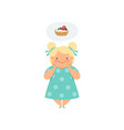 overweight blonde girl dreaming of cupcake cute vector image vector image