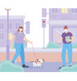 people with medical face mask woman with dog and vector image vector image
