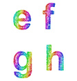 Rainbow sketch font set - lowercase letters e f g vector image vector image