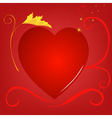 red heart background gold vector image vector image