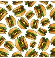 Seamless fast food double cheeseburgers pattern vector image vector image