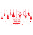set of christmas icons on red background vector image