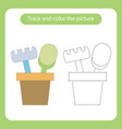 shovel and rake in a bucket toy with simple vector image vector image