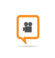 square orange speech bubble with camera vector image