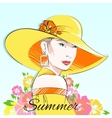 Summer fashion girl in yellow hat vector image