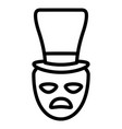 theatrical sad masks with tophat vector image