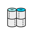 toilet paper rolls flat color line icon vector image vector image