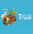 travel objec on blue background vector image