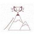 trophy cup with mountain vector image