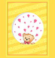 valentines day postcard template with teddy bear vector image vector image