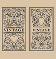 vintage flourish frames design element for card vector image