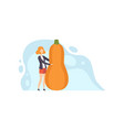 young woman standing next to giant butternut vector image vector image
