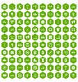 100 sport icons hexagon green vector image vector image