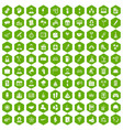 100 team building icons hexagon green vector image vector image