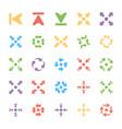 bundle of arrows colored icons vector image vector image