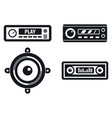 car audio system icons set simple style