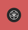 car wheel flat icon on red background vector image vector image