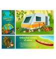 cartoon summer camping colorful composition vector image vector image