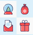 christmas and new year thin line decoration icons vector image