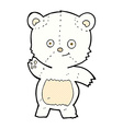 comic cartoon waving polar bear vector image