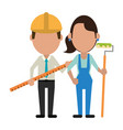 construction workers avatars vector image vector image
