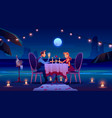 couple at night beach have romantic date dinner vector image vector image