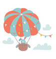 cute bunny flying with air balloon in cloudy vector image
