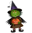 Cute Green Witch vector image vector image